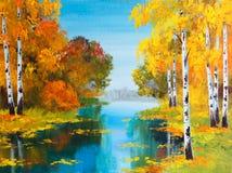 Paesaggio della pittura a olio - foresta della betulla vicino al fiume royalty illustrazione gratis