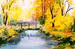 Paesaggio della pittura a olio - foresta variopinta di autunno Fotografia Stock