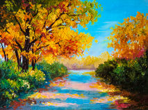Paesaggio della pittura a olio - foresta variopinta di autunno royalty illustrazione gratis