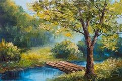 Paesaggio della pittura a olio - foresta variopinta di estate, bello fiume Immagine Stock