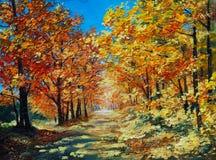Paesaggio della pittura a olio - la foresta di autunno, rosso luminoso va Fotografia Stock
