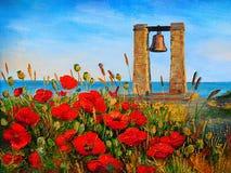 Paesaggio della pittura a olio - papaveri vicino al mare, campana al tramonto Immagine Stock Libera da Diritti