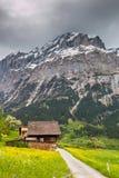 Paesaggio della primavera in alpi svizzere Valle di Grindelwald, Svizzera Fotografia Stock Libera da Diritti