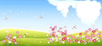 Paesaggio della primavera con il fiore e la libellula Immagini Stock Libere da Diritti