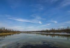 Paesaggio della primavera con il fiume ed il ghiaccio fotografia stock libera da diritti