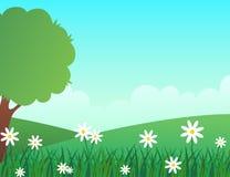 Paesaggio della primavera con l'ambiente verde fertile ed i fiori bianchi illustrazione vettoriale