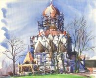 Paesaggio della primavera con la cattedrale Immagini Stock