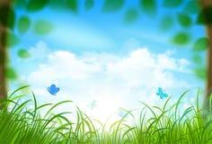 Paesaggio della primavera con le nuvole. Vettore Immagini Stock