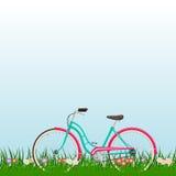 Paesaggio della primavera con una bici della donna su erba con i fiori Illustrazione Vettoriale