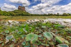 Paesaggio della roccia del leone e lago a Sigiriya, Sri Lanka immagine stock libera da diritti