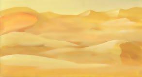 Paesaggio della sabbia del deserto dell'acquerello Fotografie Stock