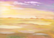 Paesaggio della sabbia del deserto dell'acquerello Fotografia Stock Libera da Diritti