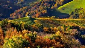 Paesaggio della Slovenia, scena di autunno, natura, montagne fotografia stock
