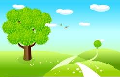 Paesaggio della sorgente con i campi verdi illustrazione di stock