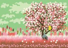 Paesaggio della sorgente con l'albero di fioritura Fotografia Stock