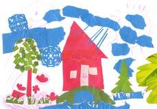 Paesaggio della sorgente con la casa. Fotografia Stock Libera da Diritti