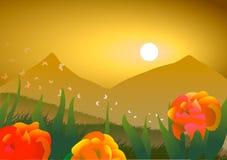 Paesaggio della sorgente Rose, farfalle e montagne al tramonto Immagine Stock Libera da Diritti