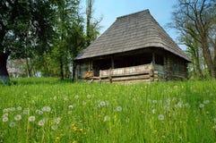 Paesaggio della sorgente in villaggio rumeno Immagine Stock