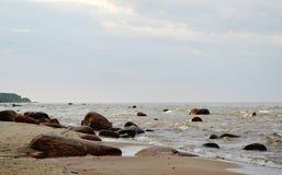Paesaggio della spiaggia baltica, Roja, Lettonia Fotografie Stock