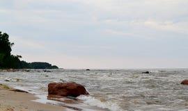 Paesaggio della spiaggia baltica, Roja, Lettonia Immagine Stock