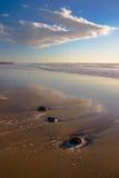 Paesaggio della spiaggia con il verticale 2 delle rocce Immagini Stock