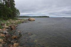 Paesaggio della spiaggia dell'isola della regione selvaggia degli alberi delle pietre Fotografie Stock