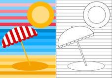 Paesaggio della spiaggia della pagina di attività di colore Immagini Stock