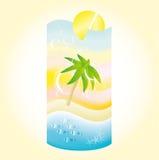Paesaggio della spiaggia di festa in una forma di un cocktail Immagini Stock
