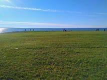 Paesaggio della spiaggia e dell'erba Immagini Stock Libere da Diritti