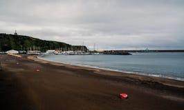 Paesaggio della spiaggia grande della Praia, Praia da Vitoria, terceira, Portogallo fotografie stock libere da diritti
