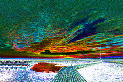 Paesaggio della spiaggia nella luce infrarossa Immagine Stock