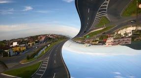 Paesaggio della strada principale al crepuscolo artisticamente modificato astratto immagini stock