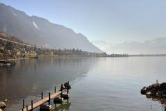 Paesaggio della Svizzera: Lago geneva di Montreux Fotografia Stock Libera da Diritti