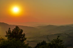 Paesaggio della Toscana di tramonto, Chianti Fotografie Stock Libere da Diritti