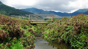 Paesaggio della valle di Phobjikha della montagna Fotografie Stock