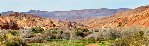 Paesaggio della valle nelle alte montagne di atlante, Marocco di Dades Fotografia Stock Libera da Diritti
