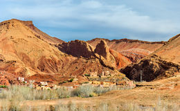 Paesaggio della valle nelle alte montagne di atlante, Marocco di Dades Fotografia Stock