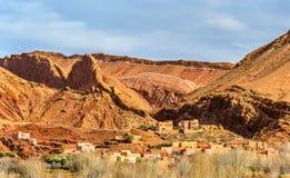 Paesaggio della valle nelle alte montagne di atlante, Marocco di Dades Immagine Stock Libera da Diritti