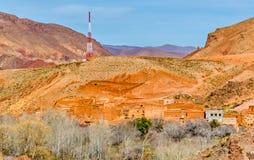 Paesaggio della valle nelle alte montagne di atlante, Marocco di Dades Fotografie Stock Libere da Diritti