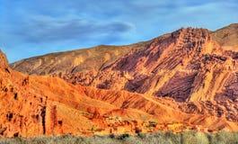 Paesaggio della valle nelle alte montagne di atlante, Marocco di Dades Fotografie Stock