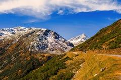 Paesaggio delle alpi e della foresta svizzere del parco nazionale in Svizzera Alpi della Svizzera sull'autunno Strada del passagg Immagini Stock