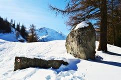 Paesaggio delle alpi svizzere, vista panoramica di inverno Fotografia Stock