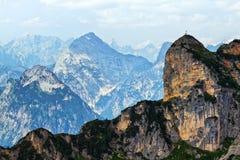 Paesaggio delle alte montagne nella gamma di Rofan L'Austria, Tirolo Immagini Stock Libere da Diritti