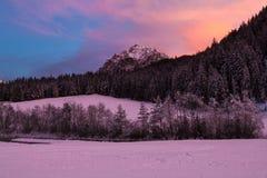 Paesaggio delle dolomia al tramonto Fotografia Stock