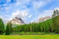Paesaggio delle dolomia di Sesto, Italia della montagna Fotografia Stock Libera da Diritti