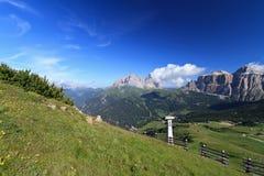 Paesaggio delle dolomia - valle di Fassa Fotografia Stock Libera da Diritti