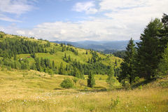 Paesaggio delle montagne in Carpathians Fotografia Stock