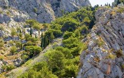 Paesaggio delle rocce della montagna di Omis Immagini Stock