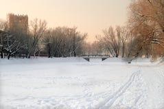 Paesaggio dello Snowy del lago con il ponticello in sera Fotografia Stock Libera da Diritti