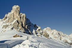 Paesaggio dello Snowy delle dolomia Fotografia Stock Libera da Diritti